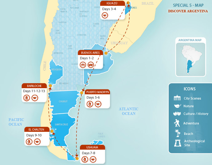 Argentina Packages Discover Argentina Argentina Travel By - Argentina map puerto madryn