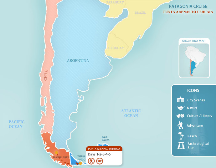 Patagonia Cruise Argentina Vacations By Argentina For Less - Argentina cape horn map
