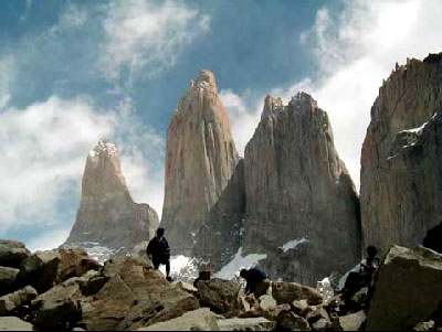 The three tower-like granite monoliths that gave Torres del Paine National Park its name.