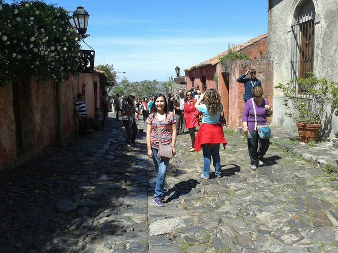 Heidy enjoying the quaint streets of Colonia de Sacramento in Uruguay, not far from Buenos Aires.