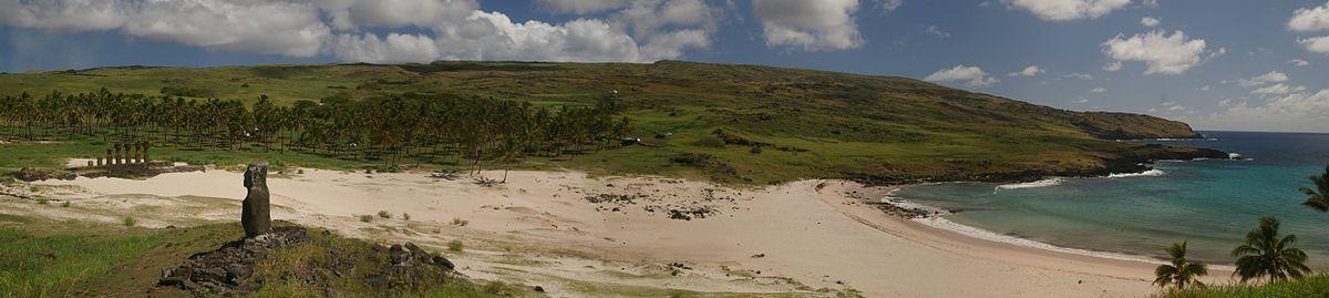Panoramic view of Anakena beach