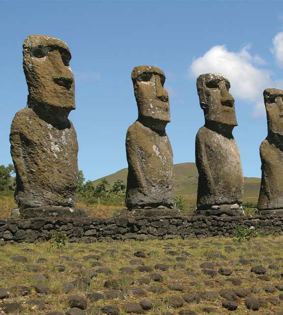 A set of the mysterious monolithic human figures known as moais on Easter Island.