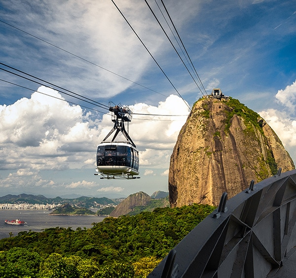 A cable car, known as a bondinho in Portuguese, returning from Rio de Janeiro's Sugarloaf Mountain.