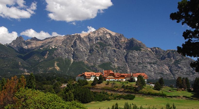 Mountains towering over the Llao Llao Hotel, a scenic resort in San Carlos de Bariloche.
