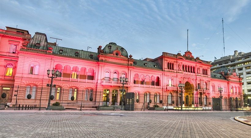Casa Rosada, office of the Argentine president and one of the most iconic buildings in Buenos Aires.
