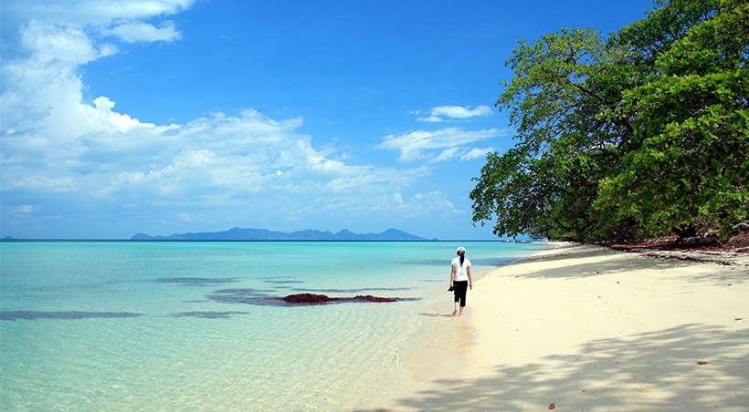 A visitor walks along a picturesque beach with stunning blue water and tropical trees in Búzios.