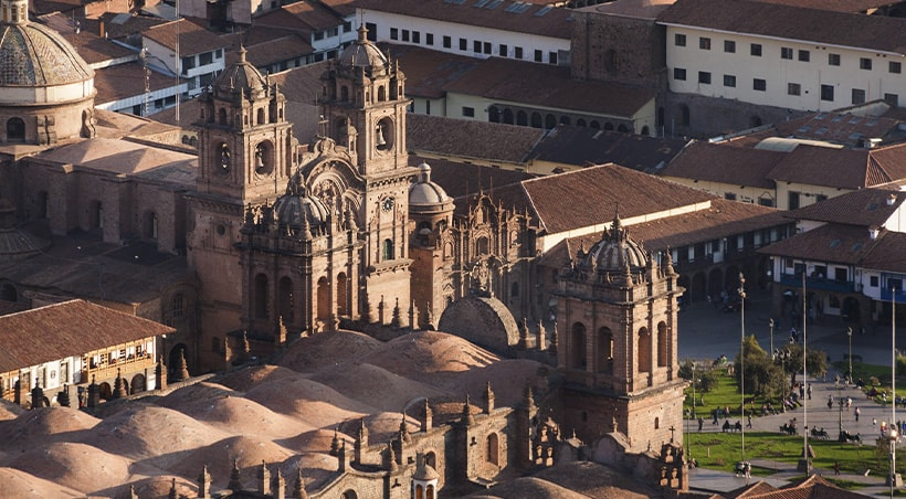 Aerial view of the Cusco Cathedral and other colonial buildings in Cusco's plaza de armas.
