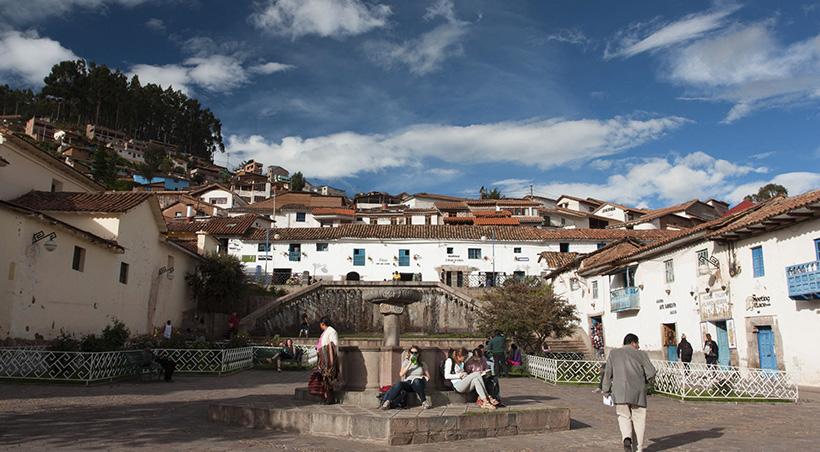 Tourists and locals in Plaza San Blas, the main square of Cusco's bohemian neighborhood of San Blas.
