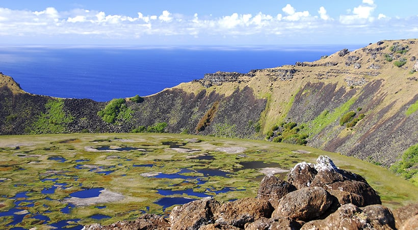 A scenic landscape found on Easter Island, a remote Polynesian island in the middle of the Pacific.