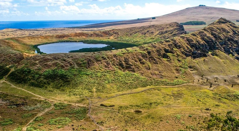 A crater lake in the Rano Raraku volcano located on Chile's Easter Island, also known as Rapa Nui.