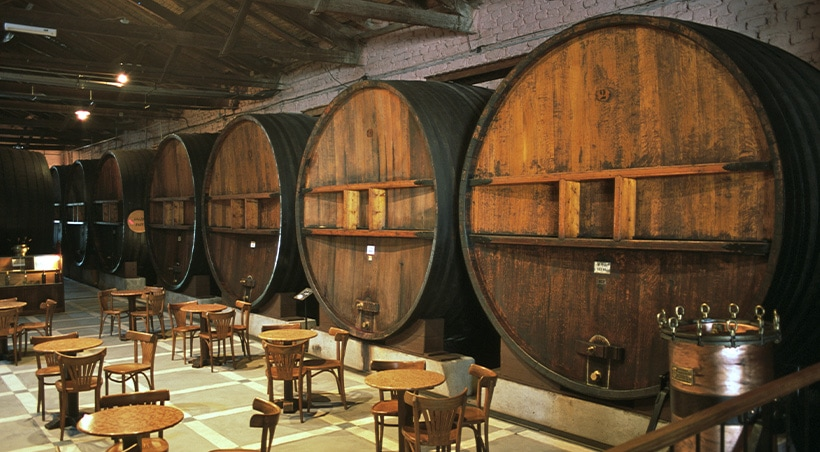Giant wine barrels overlooking several tables in the tasting room at a Mendoza vineyard.