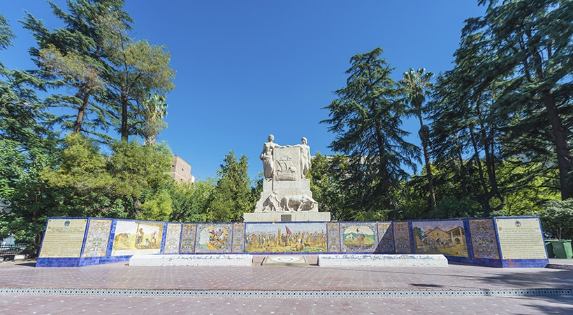 A monument in Plaza España, a beautiful park in Mendoza modeled after a traditional Spanish plaza.