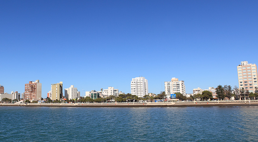 A portion of the Puerto Madryn skyline as seen from the nearby Golfo Nuevo in Argentina Patagonia.