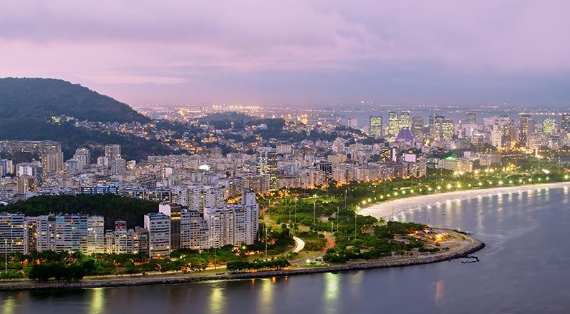 Night falling over the city of Rio de Janeiro, Brazil's most important tourist destination.
