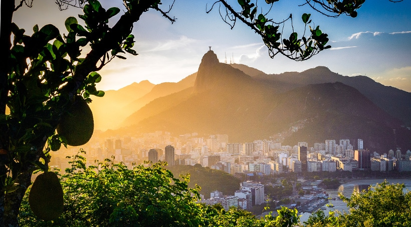 A morning view of the Rio de Janeiro cityscape and the famous Christ the Redeemer statue.