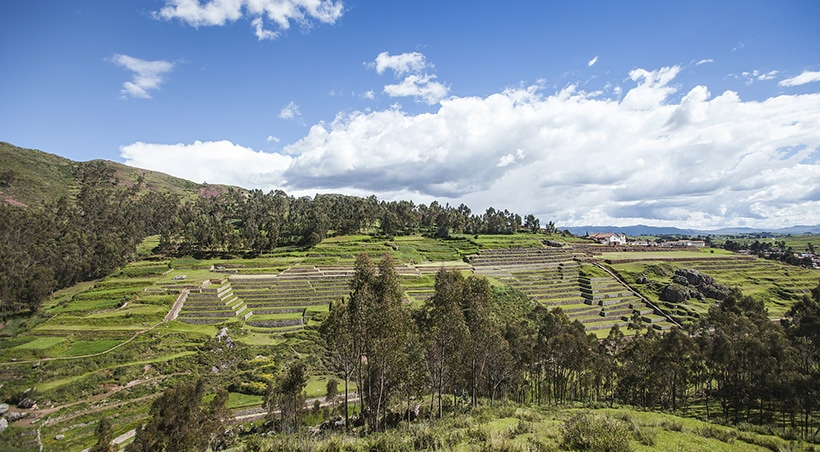 The Inca archaeological site of Chinchero and its numerous agricultural terraces.