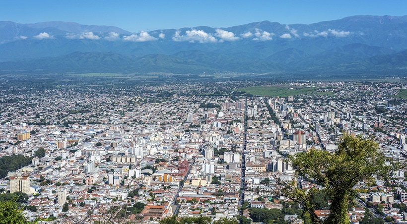 Aerial view of Salta, one of the largest cities in the country's mountainous northwestern region.