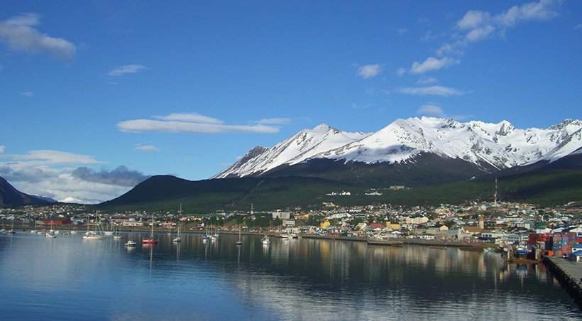 The port of Ushuaia, southernmost city in the world and the embarkation point for Antarctica.