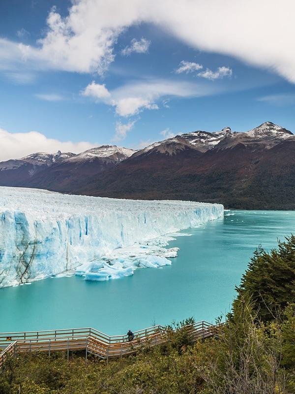 The massive Perito Moreno glacier located in Argentina's Los Glaciares National Park.