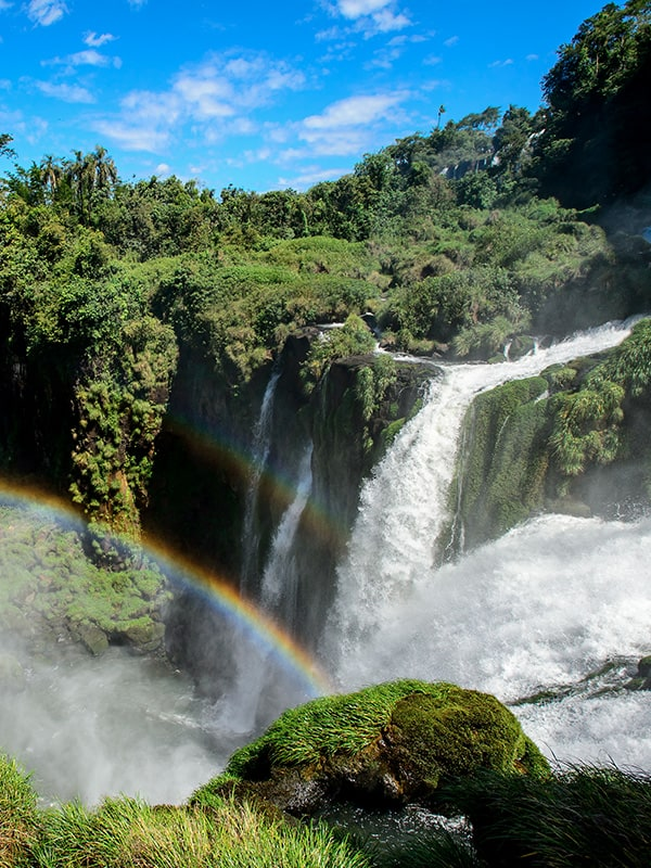 A double rainbow amidst the lush jungle greenery and rushing waters of Iguazu Falls.