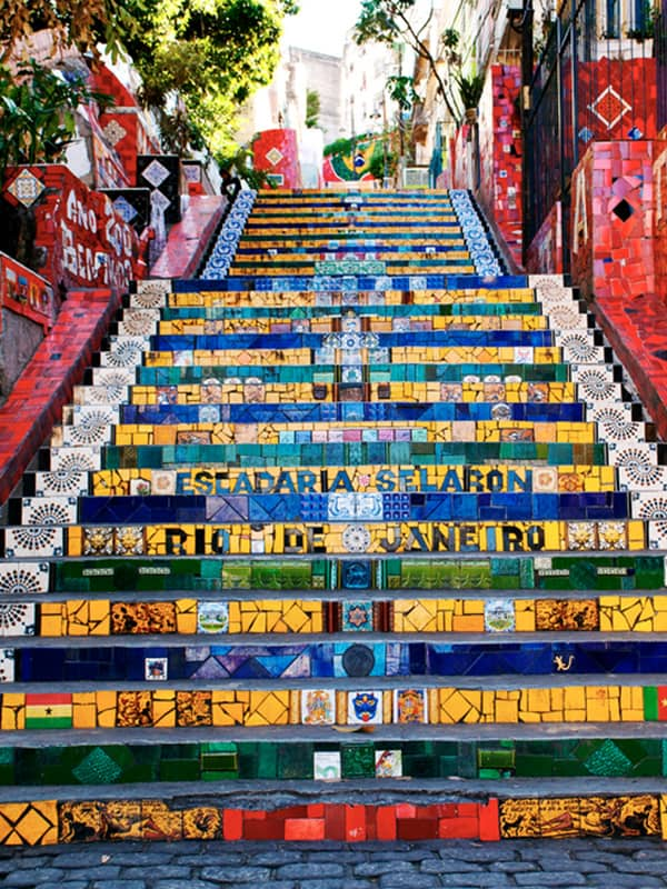 The colorful Selaron Steps, a famous work of art and one of Rio's most popular tourist attractions.