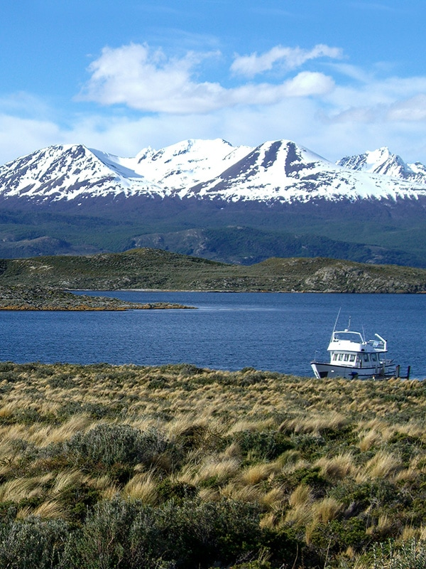 A small boat docked in Beagle Channel near the southernmost tip of South America.