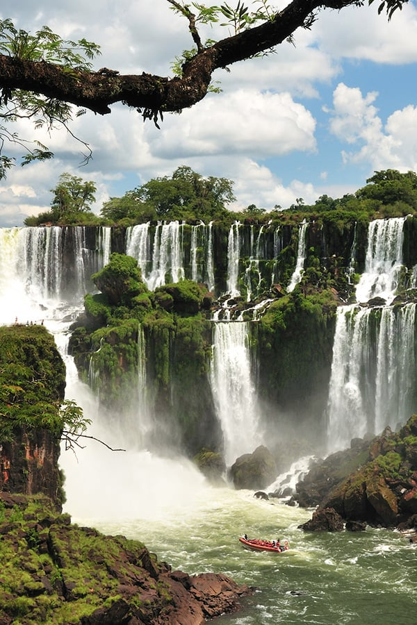 Lush green vegetation and waterfalls at Iguazu Falls, the largest waterfall in the world