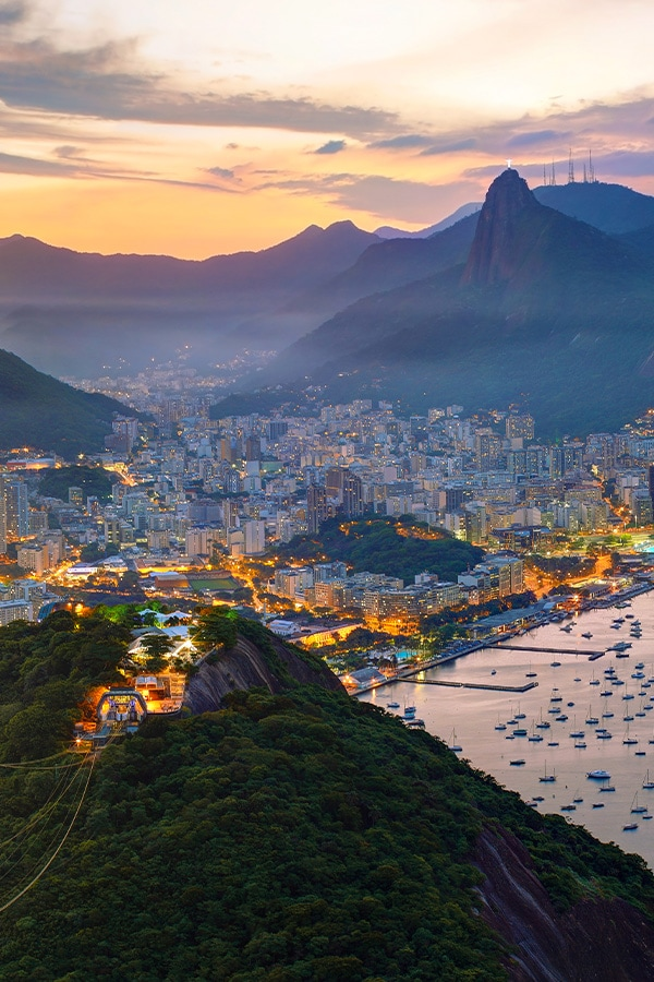 The Rio de Janeiro skyline, with the famous Christ the Redeemer statue looking over the city.