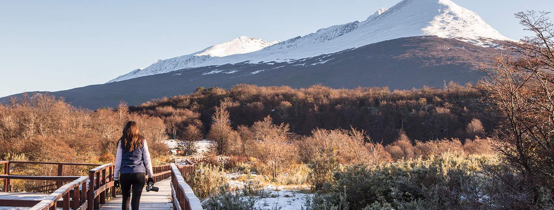 SA visitor with a camera walking along a wooden walkway at Tierra del Fuego National Park.